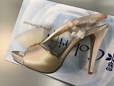 Coloriffics Bridal Sarah Beige Satin Sandal w/ Bow Platform 6 M $82.00 Awesome