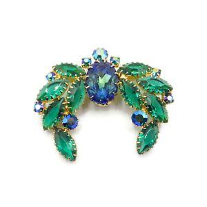 Vintage Mid-Century Blue Green Rhinestone Brooch Givre Glass Center Stone