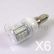 6 x Lampada E14 6W 48 LED SMD 3014 Bianco Caldo 12V/24V DC/AC Barca roulotte