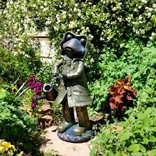 Magnesium Decorative Raincoat Frog with Watering Can Garden Figurine Statue