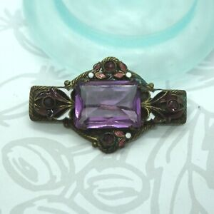 Brass Filigree Costume Jewelry Czech Glass Brooch Amethyst Purple Art Nouveau
