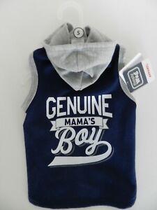 "Simply Wag ""Genuine Mama's Boy"" Blue Gray Fleece Hoodie Puppy/Dog sz S (Small)"