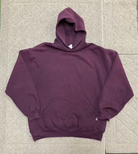 Vintage USA Blank Russell Hoodie Sweatshirt Purple Distressed XL Hooded