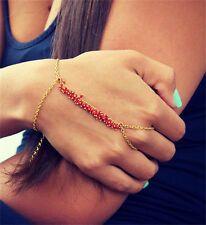 Red/Green Fringe Bracelet Bangle Gold Plated Chain With Finger Ring Jewelry New