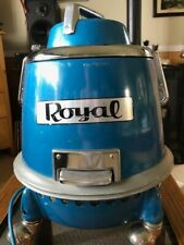 Vintage 1970's Royal Blue Round Canister Vacuum Model 231 W/Original Attachments