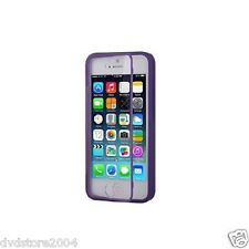 Custodia WALLET Cover VIOLA FRONTE TRASPARENTE per Apple iPhone 5 5S Gel Gomma