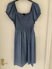 Vestido de verano señoras H&m Azul De Algodón Talla L