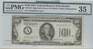 SERIES 1934 $100 FEDERAL RESERVE NOTE FROM BOSTON