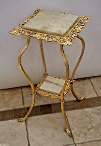Antique Art Nouveau Plant Stand Ornate Iron under Gold Gilt Marble Cherubs angel