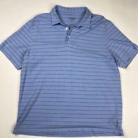 UNTUCKit Mens Polo Shirt Blue Stripe Pima Cotton Short Sleeve Classic Peru XL