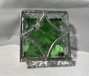 Vintage Handcrafted Glass Trinket Box Butterfly Jewelry Silver Tone Green