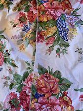 Vintage Ralph Lauren Melissa Full Fitted Sheet Pink Green Blue Yellow Floral