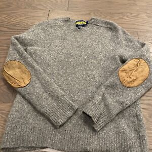 Polo Ralph Lauren Rugby 100% Wool Sweater Gray Suede Elbow Patches Large L EUC