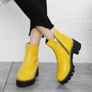 Women'S Winter Patent Leather Boots Waterproof Zip Block Mid Heel Ankle Booties