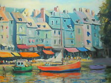 "Boudin Interest American Artist Nino Pippa Painting of Honfleur COA 18"" X 24"""