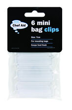 6 Mini Bag Resealing Closure Clips 7cm Chef Aid