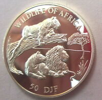 Djibouti 1997 Lions 50 Francs Silver Coin,Proof