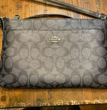 Coach F29210 Signature Coated Canvas Crossbody File Bag Smoke Black Pre-Owned