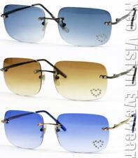 3 Pair Frameless Rectangular Vintage Style Rhinestone Metal Sunglasses 179