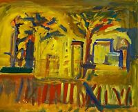 VINTAGE MIXED MEDIA ABSTRACT EXPRESSIONIST MODERNIST LANDSCAPE STUDY PAINTING