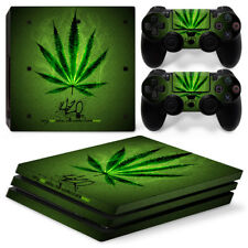 For PS4 Pro Skin Sticker Decal Cover 2 Controllers GREEN WEED CANNABIS LEAF