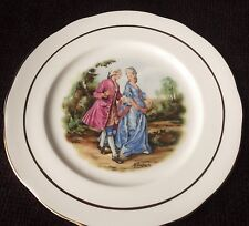 VINTAGE GILDED DISPLAY PLATE ROMANTIC COUPLE IN REGENCY DRESS CROWN RIVIERA