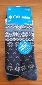 Columbia Mens Thermal Crew Socks NAVY BLUE Fleece Lined 2 PAIR Fair Isle #37521
