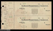 ANTIQUE BANK CHECK / BANCO TERRITORIAL Y AGRICOLA / 1900's / PUERTO RICO / RARE