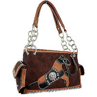 HORSE & WESTERN LADIES WOMENS HORSE MOTIFF HANDBAG - MONTANA WEST - BROWN