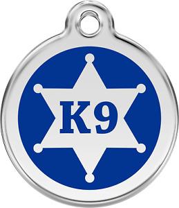 Stainless Steel Red Dingo Sherriff Badge K-9 Blue ID Dog Tag Small Medium Large