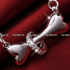 Dog Bone Crystal Pendant Silver Necklace Chain Animal Jewellery Gifts for Her C3