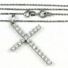 "14k White Gold Diamond Cross Pendant with Chain 18"", 1.00 tdw (NEW) #00012669"
