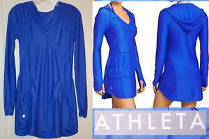 Athleta hooded Wick It Wader cover up tunic shirt dress royal blue Sz XS