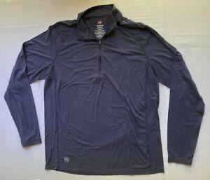 Travis Mathew Golf 1/4 Zip Long Sleeve Pullover Mens Sz XL Reflective Logo Navy