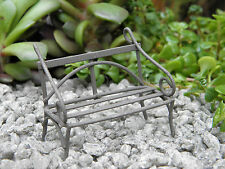 Miniature Dollhouse FAIRY GARDEN Furniture ~ TINY Micro Mini Rustic Metal Bench