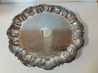 """Birmingham Silver Co 16.5"""" Round Silverplate Footed Serving Tray Chased Scroll"""