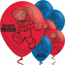 """Super Mario pack of 6 x 11"""" balloons (Helium quality)"""
