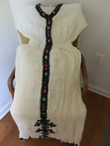 Traditional embroidered Ethiopian/Eritrean dress 2PC Habesha 100% cotton- Blue