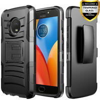 For MOTO G6 Phone Case, Armor Belt Clip Cover+Tempered Glass Screen Protector