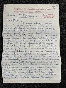 Rare 4 Page Charlie Kray Prison Letter To Julia Dwyer 8th February 1974