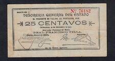 MEXICO 25 CENTAVOS 1913 U TESORERIA GENERAL DEL ESTADO PICK #  S551e  VF.
