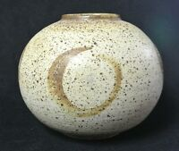 "Studio Pottery Large 8.5"" x 11"" Salt Glaze Ball Globe Pot Vase - Signed RMD"
