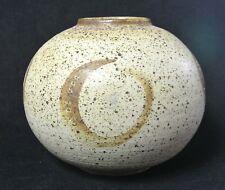 Vintage Studio Pottery Salt Glaze Ball Globe Pot Vase - Marked RMD