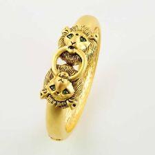 Dolly-Bijoux Bracelet Jonc Ouvrable Tête de Lion aux Yeux Emeraude Synthétique