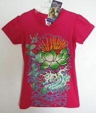 Ed Hardy Girls Hot Pink Rhinestone Lotus Shirt (6/6X) NWT