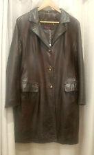 RARE Sardar London Chocolate Brown Geunine Leather Vintage 1970s Coat - Size 16
