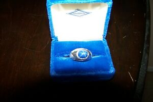Mens 10k Solid White Gold Blue Star Sapphire Solitaire Ring Size 8