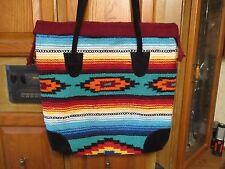 Big Handwoven Southwest Tote Market Shoulder Bag w/Suede Handle ~NWOT~