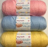 Mary Maxim Baby Yarn 100% Acrylic 6 oz 342 yds Lot of 3 Skeins Pink Yellow Blue