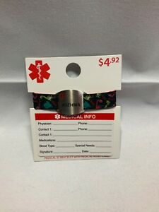 Alert ID Bracelet With Medical ID Wallet Card Fabric Silicon Band